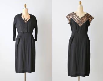 Vintage 1960s Black Lace Dress / Little Black Dress / Cocktail Formal Dress / Bolero Jacket / Medium Large