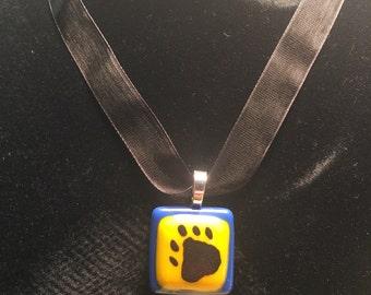 St. Joe Bears Fan Jewelry Pendant - Fused Glass