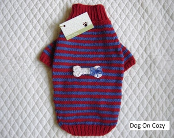 Appliqued Dog Sweater, Pet Top, Hand Knit Pet Sweater, Size SMALL, Whimsy Red and Blue