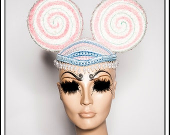 Kiss Like Sugar…. Pink Lollypop Candy Mouse Ears with Pearls Headdress