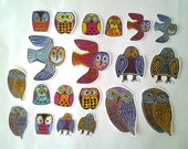 Colorful Owl Stickers, 20 sticker set, journaling, planners, mail art