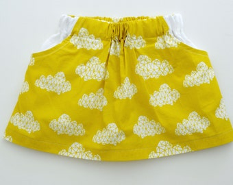 Girls Abstract Cloudes Mustard Colored Boho Party Skirt with White 100% Linen Pockets. 12mths-8 years