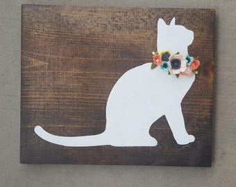 CUSTOM- cat sign with felt flowers