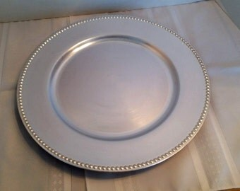 13 Inch Silver Plastic Charger Plate