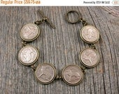 CLEARANCE IRISH Coins - Coin Jewelry - Rabbit Coins - Three Pence - Bunny Bracelet - Coin Bracelet - Vintage Irish Rabbit Coin Bracelet - Ea