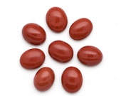 10mm x 12mm - FOUR Lovely Oval Red Jasper Cabochons Brick Red