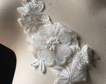 WHITE Applique Flower for Lyrical Dance, Ballet, Garments,  Costume Design WA