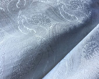 WHITE Silk Paisley Brocade Fabric  for Gowns, Clutches, Costumes