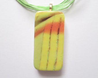 Yellow Stripe Necklace, acrylic image transfer, domino jewelry, domino necklace