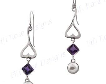 "1 3/4"" Freshwater Pearl Amethyst 925 Sterling Silver Earrings"