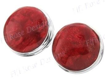"3/4"" Genuine Red Sponge Coral 925 Sterling Silver Clip-on Earrings"