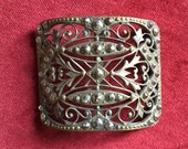 RESERVED Victorian cut steel buckle, antique french baroque, swirl ornament, art nouveau