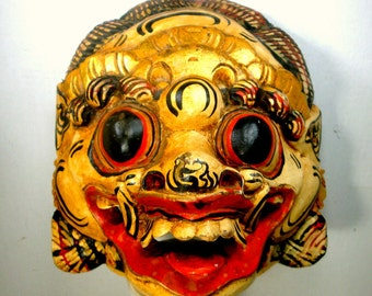Barong Monkey Mask, Dramatic Painted Wood Face Carved Wall Sculpture, From Bali , Ethnic Folk Tale Art, 1980s