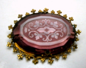 Amethyst Purple Color Czech Glass 1930s or Older Brooch, Elegant Etched Design Pin, For The Victorian Violet Lover....and Classic Taste