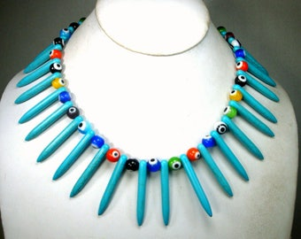 Turquoise SPIKE Cleopatra Collar Necklace, OOAK By Me, Howlite Points and Colored Glass Eye Beads, Polka Dots and Points, Fierce Happiness