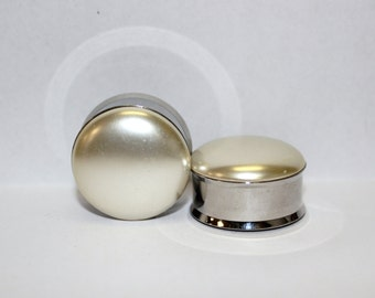 "Cream Wedding Pearl Plugs 1"" 25mm Double Flare"