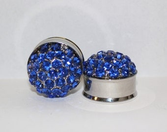 "Royal Blue Wedding Plugs  7/8"" 22mm  Double Flare"