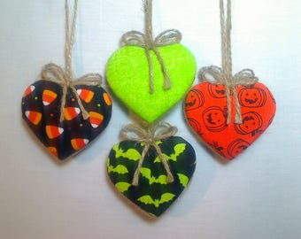 Orange/Black Halloween Heart Ornaments | Party Favors | Holiday Decor | Handmade Gift | Fall Decor | Tree Ornaments | Folk Art | Set/4 | #1