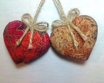 Fall Heart Ornaments |Fall Decor | Thanksgiving | Party Favors | Holidays |  Folk Art | Handmade | Kitchen Decor | Decorations | Set/2 | #3