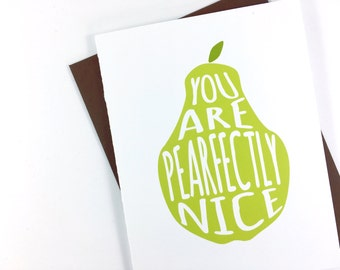 Cute Thank You Card, Mother's Day Card, Thank You Note Card for Friend, Thinking of You Card Green Pear Just Because Card, Funny Card,