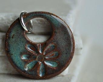 Dark Turquoise Flower Ceramic Pendant in Caribbean Green glaze, ceramic jewelry, stoneware clay