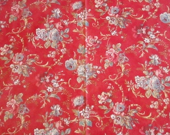 "A 25""-square Ralph Lauren Home decorator sample of a floral pattern on a dusty red ground"
