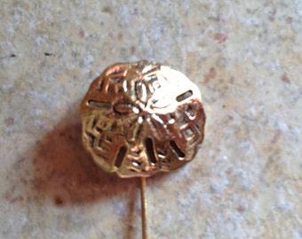 Goldtone Sand Dollar Stick Pin