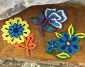 Lot Three Vintage Flower Appliqués 1960's 1970's Funky Mod Themed Flower Power Hippy Flower Child Boho Bohemian Jean Patches Embroidered