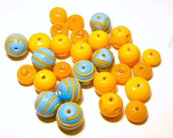 DESTASH --- 28 ASsorted Opaque Turquoise Blue and Orange Opaque ondelle and Round Beads with Stripes --- Lot 3L