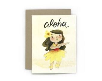 Aloha Hula Girl Greeting Card