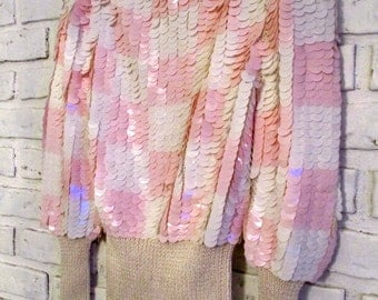 Vintage Pink and White Sequin Sweater Medium Small