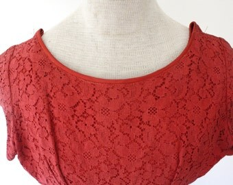 Absolutely STUNNING Vintage 1950s Crimson Lace A-Line Party Dress XS/S