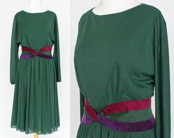 80's Midi Dress / Belted Dress / Full Gathered Skirt / Dark Forest Green / Bat Wing Sleeves / Small to Medium