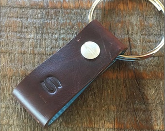 Monogrammed Distressed Brown and Light Blue Leather Keychain - Short & Wide Style