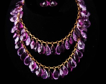 "Antique czech necklace / GORGEOUS Amethyst glass teardrops / victorian earring / purple Necklace / HUGE stones / 32"" long glass necklace"
