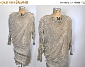 SALE 50% OFF Metallic Crochet Knit Dress / 1980s does 1920s / S-M