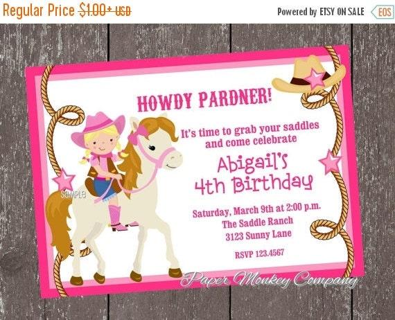 ON SALE Blonde Cowgirl Birthday Invitations
