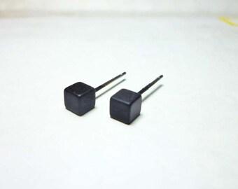 Black Cube Stud Earrings, Cube Earrings