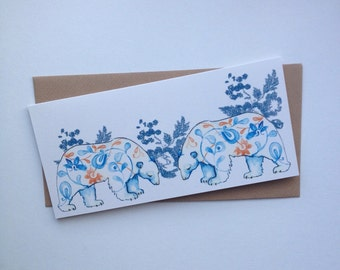 A Friendly Meeting- Two Bears Greetings Card for Valentines, Secret Admirers and Best Friends