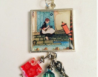 Stitching by the Sea Scissor Fob. Handmade by TheThreadGatherer. Embroidery Scissor Jewelry.