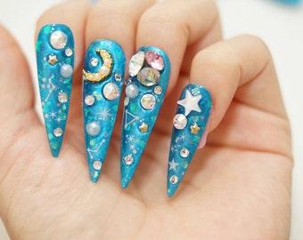 Stiletto nails, long nails, constellation, drag nails, metallic nails, drag queen, Japanese 3D nails, galaxy makeup, summer nails,