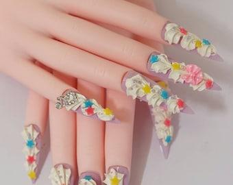 Nails, stiletto nails, super long nails, fairy kei, Japanese nails, 3D nails, kawaii, pastel, fake sweets, yume kawaii, drag queen, cream