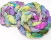 Hand painted spinning wool, English Teeswater, hand painted top, roving, spin, felt, spinning wool, braid, teal  100g, Colour; Lazy Sunday
