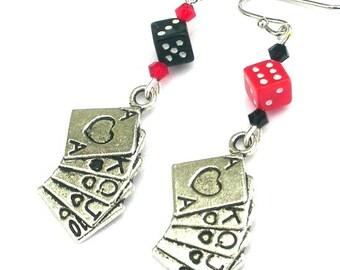 Gambling earrings, deck of cards earrings, playing card earrings, dice earrings, poker earrings, antiqued silver