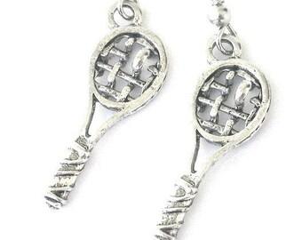 Tennis earrings, tennis racquet earrings, love tennis jewelry, antiqued silver