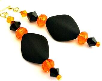 Black and orange earrings, orange crystal and velvet black, dramatic statement earrings