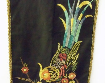 Beautiful Vintage Hand Embroidered 1920's Antique Table Runner Black with Exotic Birds Pheasants metallic trim
