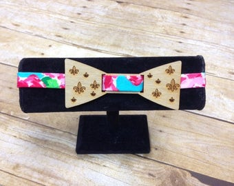 Wood Bow Tie , Fluer de lis, Derby Bow Tie,lilly inspired, neck wear, mens tie