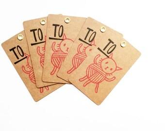 cat gift tags. knitting yarn hang tags. cat lover hand printed tags. diy christmas wedding holiday gift wrapping. set of 5