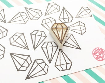 small diamond stamp. gemstone pattern stamp. geometric hand carved rubber stamp. wedding bridal shower scrapbooking. holiday crafts. no1